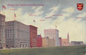 Chicago Illinois~Michigan Avenue-Fine Arts-Club-Hotel-Railway Exchange-1913 Pc