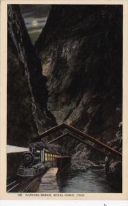 Colorado Train At Hanging Bridge In Royal Gorge At Night 1912