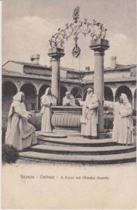 Monks at Il Pozzo nel Chiostro Grande, Certosa, Firenze, Toscana, Italy