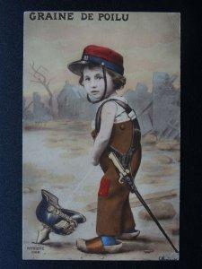 WW1 Patriotic French Postcard GRAINE DE POILU Trench Boys in German Helmet c1915