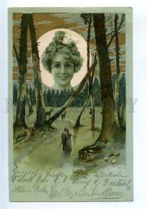 240845 ART NOUVEAU Huge MOON w/ WITCH Vintage POST 1900 year