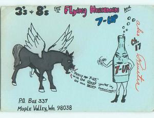 7-Up Soda Ad - Qsl Cb Ham Radio Card Maple Valley Washington WA s0299