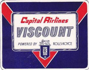 CAPITAL AIRLINES VISCOUNT SERVICE VINTAGE LUGGAGE LABEL