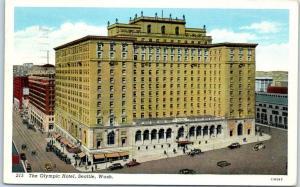 Seattle, Washington Postcard THE OLYMPIC HOTEL Street View Curteich Linen 1939