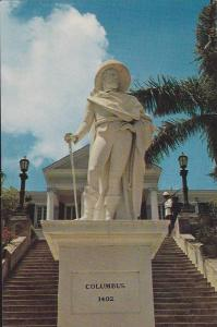 Christopher Columbus Statue with Government House in the background,  Nassau,...