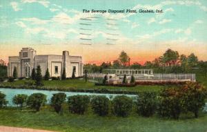 Goshen, Indiana, IN, Sewage Disposal Plant, 1947 Linen Vintage Postcard f7060
