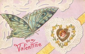 Valentine~Big Teal Butterfly~Peacock Wing Design~Girl in Doily Heart~Gold Leaf