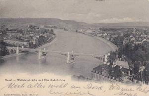 Aerial View, Basel - Wettsteinbrucke und Eisenbahnbrucke, Switzerland, PU-1903