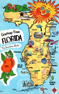 Florida Greetings From The Sunshine State With Map