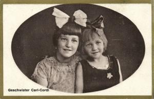 Circus Acrobats Children the Carl-Cordi Sisters with Hair Bow (1910s) Postcard