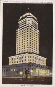 Florida Miami Dade copunty Court House and City Hall At Night
