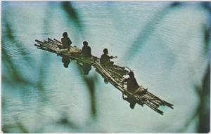 Fijian Women Fishing From Bamboo Rafts On The Wainibuka River, Fiji, 1940-1960s