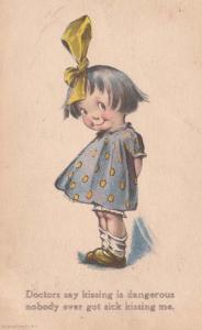 Young Girl With Bow In Hair Kissing Antique Postcard
