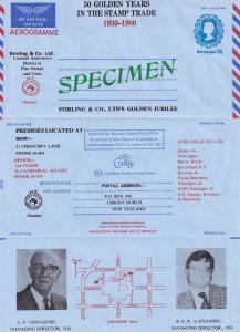 Stirling & Co Christchurch New Zealand Stamp Dealers 1930 MD SPECIMEN Aerogramme