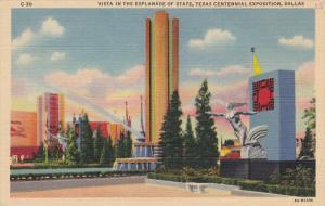 Vista in the Esplanade of State, Texas Centennial Exposition, DALLAS, Texas, ...