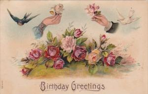 Birthday Greetings Shaking Hands With Flowers and Doves