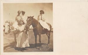 F27/ Hereford Texas RPPC Postcard 1908 Horses Pretty Girls