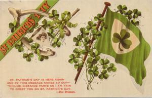 St Patricks Day Greetings - Eva Brennan Poem - Wishbone Pipe, Shamrock Flag - DB