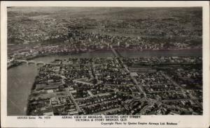 Brisbane Australia Grey St. Aerial View Real Photo Postcard
