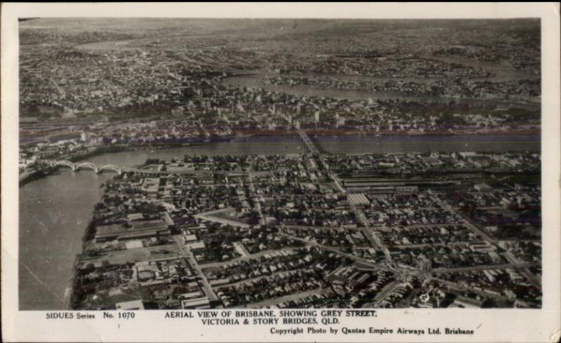 Brisbane Australia Grey St. Aerial View Real Photo Postcard