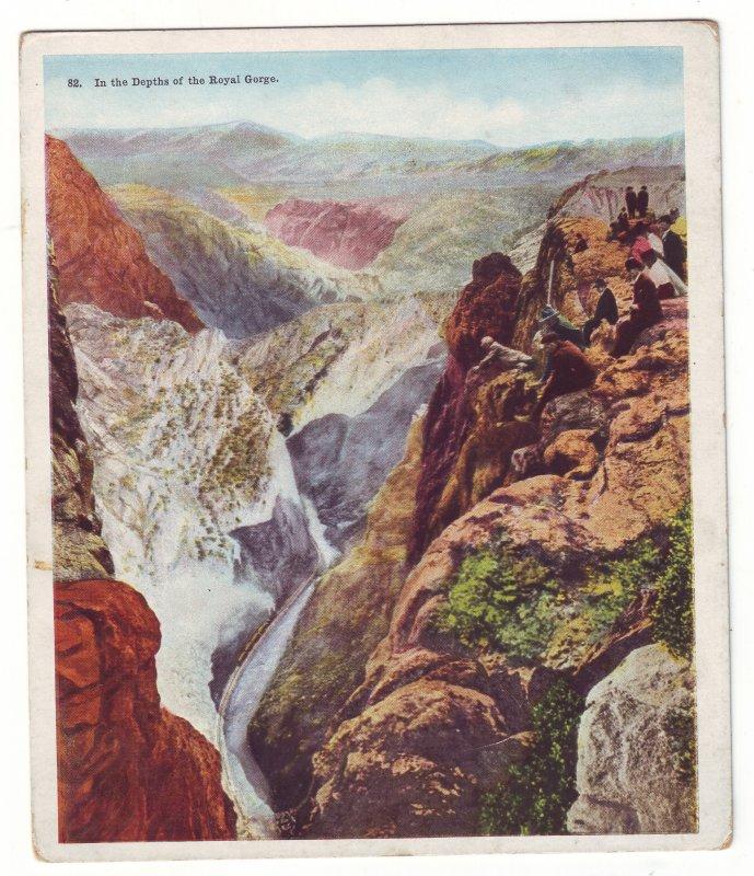P1523 old unused postcard railroad people overlook depths royal gorge colorado