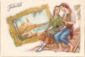 Catalan couple. Romance Vintage Spanish postcard