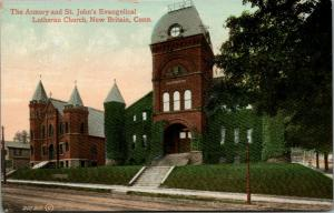 New Britain Connecticut~Armory & St John Evangelical Lutheran Church~1909 PC