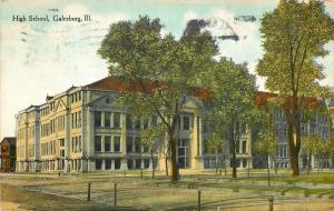 Galesburg Illinois~Hitching Posts Across From High School~1909 Postcard