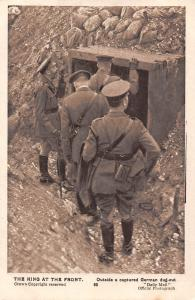 The King at the Front Outside a captured German dug-out