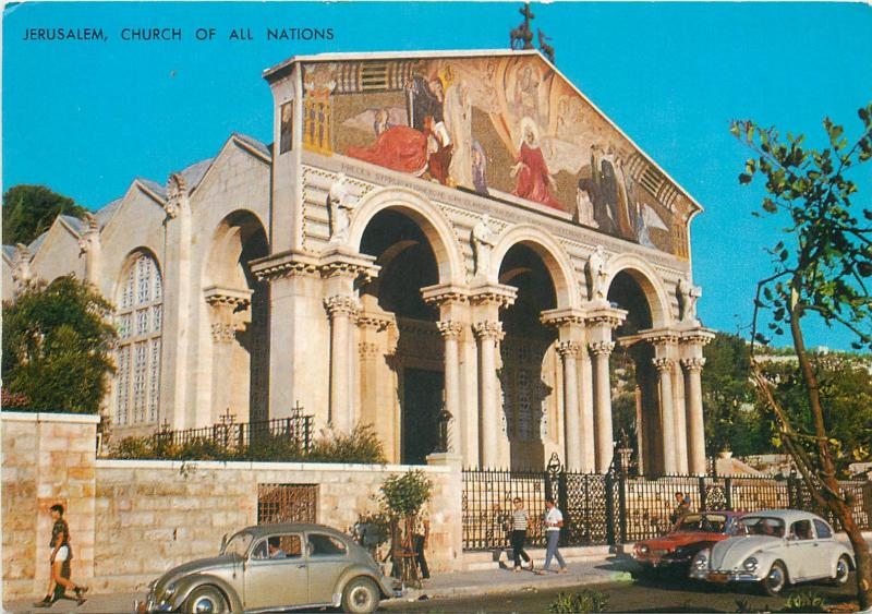 Israel Jerusalem Church of all nations VW Beetle cars in front