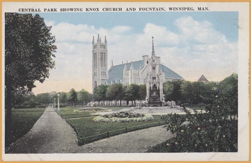 Winnipeg, Manitoba-Central Park  Showing Knox Church and Fountain
