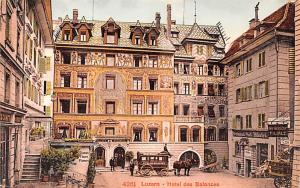 Switzerland Old Vintage Antique Post Card Luzern, Hotel des Balances Unused