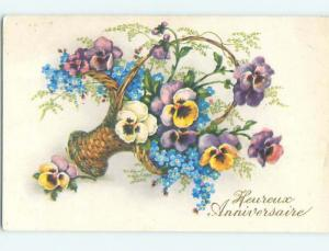 Pre-Linen foreign PANSY AND FORGET-ME-NOT FLOWERS IN WICKER BASKET HL7548