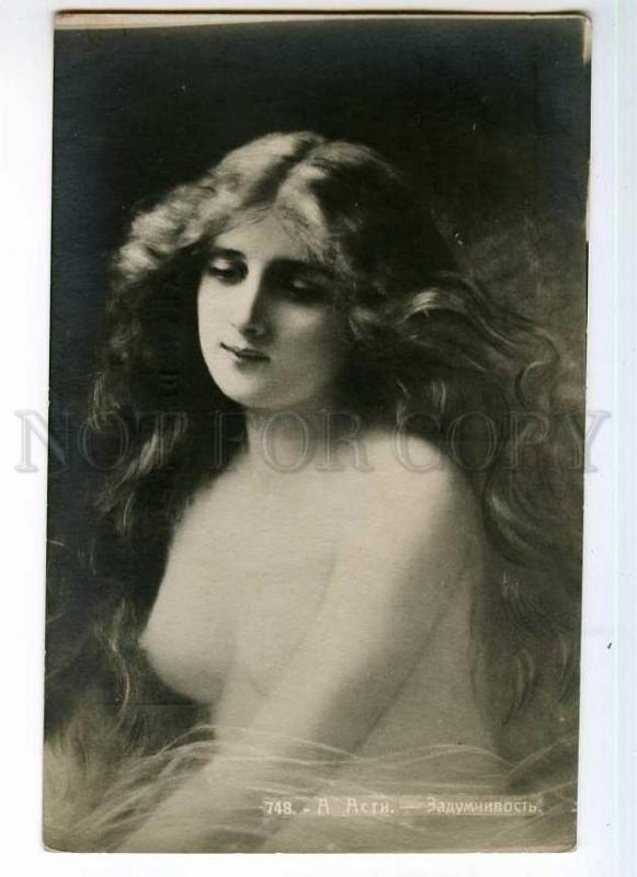 246556 NUDE Lady LONG HAIR by Angelo ASTI vintage RUSSIA PC