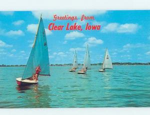 Unused Pre-1980 SAILBOATS ON LAKE Clear Lake Iowa IA F3022
