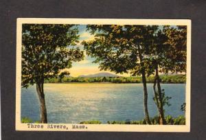 MA Three Rivers Postmarked Mountains 1941 Mass Massachusetts Linen Postcard PC