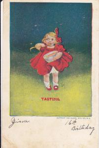 Tasting, Girl wearing a red dress, eating out of a bowl with a wooden spoon, ...