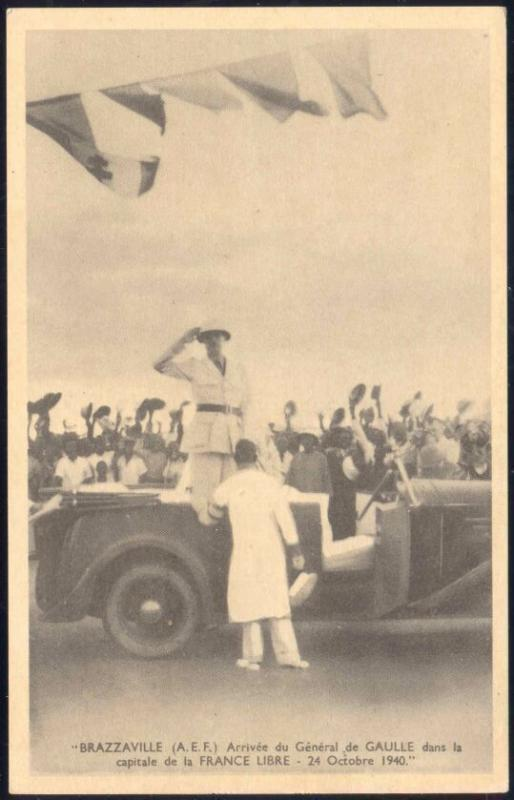 congo, BRAZZAVILLE, Arrival of French General Charles de Gaulle by Car (1940)