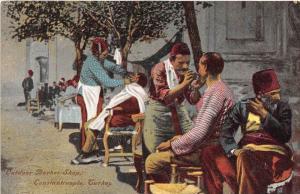 Turkey  Constantiople,  Outdoor Barber Shop,