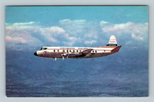 Viscount II Airplane, Continental Airlines, Chrome Postcard