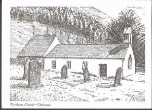 Postcard Art Sketch Drawing Wythburn Church THIRLMERE Cumbria