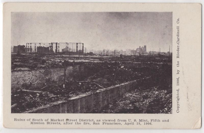 1906 San Francisco Earthquake Disaster Ruins of Market Street District Postcard