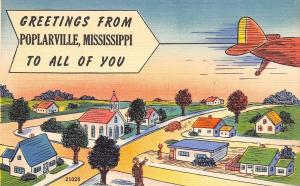 Poplarville Mississippi~Jet Speeds Overhead~Comic Homes~ChurchPostcard