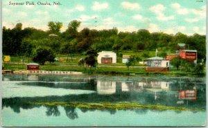 Omaha, Nebraska Postcard SEYMOUR PARK Lake, Theatre, Band Stand View 1911 Cancel