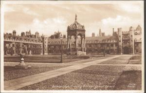 Vintage Sepia Postcard CAMBRIDGE Trinity College Great court Cambridgeshire