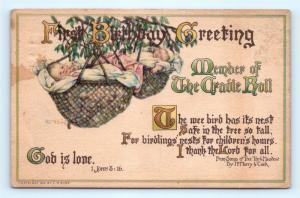 Postcard Birthday Greetings Baby's First Birthday 1913 a/s CH Burd K09