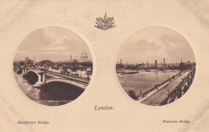 LONDON, England, 1900-1910s; Blackfriars Bridge, Waterloo Bridge