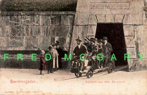 1905 Berchtesgaden Bavaria PC: Miners Exit Saltmine on Railed Vehicle