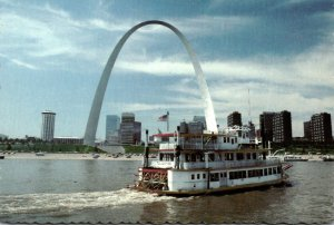 Missouri St Louis Riverfront With Gateway Arch and Paddlewheel Steamer Tom Sa...