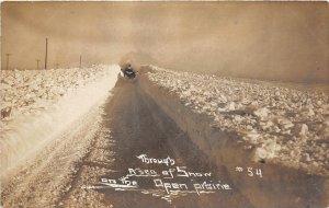 F79/ Brocket? North Dakota RPPC Postcard Snow Blizzard GN Railroad c1910